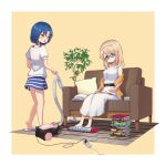 2girls aoyama_blue_mountain barefoot belt black_belt blonde_hair blue_eyes book book_stack closed_mouth collarbone dress extension_cord foot_massage from_behind glasses gochuumon_wa_usagi_desu_ka? hairband horizontal_stripes mate_rin mohei multiple_girls open_mouth reading simple_background sitting skirt slippers striped striped_skirt vacuum_cleaner violet_eyes white_dress yellow_background yellow_eyes