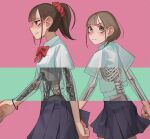 2girls artist_request black_skirt blonde_hair bone bow brown_eyes brown_hair closed_mouth looking_at_viewer looking_to_the_side mask_maker1957 multiple_girls original pink_background red_bow ribs skeleton skirt walking x-ray