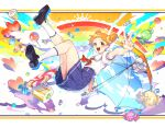 1girl :d aikatsu! aikatsu!_(series) arisugawa_otome black_footwear blurry blurry_foreground candy collared_shirt colorful commentary_request depth_of_field food full_body hair_cones hair_ornament hair_scrunchie heart high-waist_skirt highres hitoto holding holding_umbrella kneehighs loafers lollipop looking_at_viewer medium_skirt open_mouth orange_eyes orange_hair outstretched_arm pleated_skirt print_umbrella puffy_short_sleeves puffy_sleeves purple_skirt rainbow reaching_out red_neckwear scrunchie shiny shiny_hair shirt shirt_tucked_in shoes short_hair short_sleeves skirt sky_print smile solo sparkle starlight_academy_uniform teruterubouzu umbrella v white_legwear white_shirt yellow_scrunchie