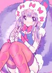 1girl amezawa_koma animal_hood blue_eyes blush bow bowtie brown_hair closed_mouth eyebrows_visible_through_hair fingerless_gloves gloves heart heart_print hood hood_up knees_together_feet_apart large_tail looking_at_viewer orange_legwear original pink_background red_bow red_neckwear solo squirrel_tail tail thigh-highs white_gloves