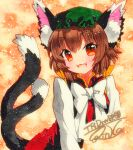 1girl :d animal_ear_fluff animal_ears brown_hair cat_ears cat_tail chen dress earrings fangs gold_trim hat jewelry mob_cap multiple_tails nekomata open_mouth qqqrinkappp red_dress red_eyes shikishi short_hair single_earring smile solo tail touhou traditional_media two_tails