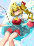 1girl absurdres apple blonde_hair blush breasts bright_pupils crystal dress fang feet_out_of_frame flandre_scarlet food fruit glowing hat highres looking_at_viewer medium_breasts mini_hat mob_cap one_side_up parted_lips partially_submerged pointy_ears red_dress red_eyes short_hair skin_fang smile solo touhou wings zakozako_y
