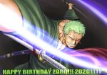 1boy dual_wielding earrings fighting_stance green_hair green_kimono happy_birthday holding holding_sword holding_weapon incoming_attack japanese_clothes jewelry katana kimono kokorozashi long_sideburns looking_at_viewer male_cleavage male_focus one_eye_closed one_piece partially_unbuttoned pectorals roronoa_zoro scar scar_across_eye scar_on_chest short_hair sideburns smirk solo sword weapon