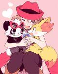1girl :d amezawa_koma black_legwear blue_neckwear blue_ribbon blush boots facing_viewer fennekin fingernails gen_6_pokemon hat heart interlocked_fingers neck_ribbon open_mouth own_hands_together pancham pantyhose pink_background pokemon pokemon_(anime) pokemon_(creature) pokemon_xy_(anime) red_headwear ribbon serena_(pokemon) sitting smile