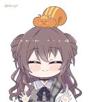 1girl ^_^ animal_on_head bangs blush_stickers brown_hair chibi closed_eyes closed_mouth collared_shirt commentary double_bun english_commentary facing_viewer grey_shirt hair_between_eyes hololive jacket kukie-nyan long_hair natsuiro_matsuri on_head outstretched_hand plaid plaid_shirt shirt simple_background smile solo squirrel twitter_username upper_body virtual_youtuber wavy_hair white_background white_jacket