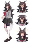 1girl :3 :d =_= alternate_costume animal_ear_fluff animal_ears black_hair black_skirt choker closed_eyes cropped_torso crying crying_with_eyes_open eyebrows_visible_through_hair fang fingers_together full_body grey_serafuku highres hololive loafers long_hair long_sleeves looking_at_viewer mikan_(chipstar182) multicolored_hair multiple_views neckerchief ookami_mio open_mouth pleated_skirt redhead sailor_collar school_uniform serafuku shoes simple_background skin_fang skirt smile standing streaked_hair tail tail_around_leg tears thigh-highs very_long_hair virtual_youtuber white_background white_legwear wolf_ears wolf_girl wolf_tail yellow_eyes zettai_ryouiki