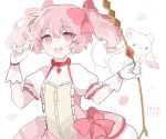 1girl :3 :d bow_(weapon) bubble_skirt choker gloves holding holding_bow_(weapon) holding_weapon kaname_madoka kneehighs kyubey magical_girl mahou_shoujo_madoka_magica meelaffs open_mouth pink_eyes pink_hair red_eyes skirt smile twintails weapon white_gloves white_legwear