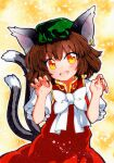 1girl :d animal_ear_fluff animal_ears brown_eyes brown_hair cat_ears cat_tail chen claw_pose dress earrings fang gold_trim hat jewelry looking_at_viewer mob_cap multiple_tails nekomata open_mouth qqqrinkappp red_dress short_hair single_earring skin_fang smile solo tail touhou traditional_media two_tails