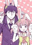 1boy 1girl :d amezawa_koma animal_ears blush brown_eyes brown_hair bunny_pose character_request closed_mouth dress fake_animal_ears fingernails flower gloves hair_flower hair_ornament hairband hands_up idolmaster jacket jitome looking_at_viewer necktie open_mouth paw_gloves paws producer_(idolmaster) rabbit_ears sanpaku short_hair smile twintails yellow_flower