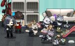 1boy 1girl ? ak-12_(girls_frontline) ak-15_(girls_frontline) an-94_(girls_frontline) angelia_(girls_frontline) animal_ears animalization apron beret bowl cat cat_ears cat_tail chasing chibi clothes_rack commander_(girls_frontline) commentary couch english_commentary eyepatch eyewear_on_head fleeing g11_(girls_frontline) girls'_frontline glowing glowing_eyes hat headset hk416_(girls_frontline) indoors kalinya laughing m16a1_(girls_frontline) m4_sopmod_ii_(girls_frontline) m4a1_(girls_frontline) mask motion_blur open_mouth pencil pet_bowl pillow playground rabbit red_headwear ro635_(girls_frontline) rpk-16_(girls_frontline) running scar scar_across_eye sleeping slide sprite_art st_ar-15_(girls_frontline) sunglasses sweatdrop tail the_mad_mimic ump40_(girls_frontline) ump45_(girls_frontline) ump9_(girls_frontline) wolf wolf_ears wolf_tail zzz
