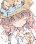 1girl :o animal_ear_fluff animal_ears bendy_straw blue_bow bow brown_eyes brown_hair brown_headwear commentary cup drink drinking_glass drinking_straw ears_through_headwear hands_up hat hat_bow holding holding_cup ice ice_cube long_hair looking_at_viewer original parted_lips sailor_collar school_uniform serafuku shirt short_sleeves simple_background solo symbol_commentary upper_body wataame27 white_background white_sailor_collar white_shirt wolf-chan_(wataame27) wolf_ears