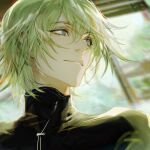 1boy bishounen blurry blurry_background closed_mouth ears_visible_through_hair eyebrows_visible_through_hair eyes_visible_through_hair green_eyes green_hair green_theme haban_(haban35) hair_between_eyes highres light_green_hair light_particles light_rays male_focus original smile solo turtleneck upper_body window