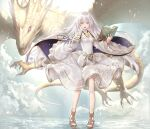 1girl bangs book cape clothing_cutout clouds dragon dress fire_emblem fire_emblem:_genealogy_of_the_holy_war floating_hair full_body highres hiyashiru holding julia_(fire_emblem) long_hair long_sleeves open_mouth purple_cape ribbon sandals shoulder_cutout silver_hair standing violet_eyes white_dress