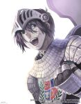 1boy armor artist_name bandage_on_face bandages bangs black_eyes black_hair brown_cape cape chainmail clenched_hand commentary_request dated dated_commentary emblem gauntlets grandyoukan hair_between_eyes knight_(ragnarok_online) korean_commentary looking_to_the_side open_mouth pauldrons ragnarok_online short_hair shoulder_armor signature simple_background solo tabard teeth tongue upper_body visor_(armor) watermark web_address white_background