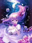 1girl air_bubble bangs blue_eyes breasts bubble commentary_request dress fate/stay_night fate_(series) flower hair_ribbon hakka_(88hk88) hand_on_own_chest long_hair looking_at_viewer matou_sakura medium_breasts official_alternate_costume petals puffy_short_sleeves puffy_sleeves purple_hair red_ribbon ribbon short_sleeves solo stuffed_toy underwater white_dress