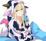 1girl animal_print blonde_hair closed_mouth collarbone cow cow_print drink eyebrows_visible_through_hair girls_frontline green_eyes highres long_hair looking_at_viewer milk pajamas pillow solo stg44_(girls_frontline) suprii white_background