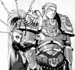 1boy 1girl ahoge ahoge_wag anklet armor armored_dress artist_request belt cape closed_mouth couple eldar expressive_hair greyscale jewelry locked_arms monochrome roboute_guilliman shoulder_armor simple_background size_difference warhammer_40k yvraine