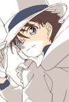 1boy adjusting_clothes adjusting_headwear bangs blue_eyes blue_shirt brown_hair cape closed_mouth commentary disconnected_mouth formal gloves hand_up hat highres jacket kaitou_kid light_smile long_sleeves looking_at_viewer looking_back magic_kaito male_focus meitantei_conan monocle monocle_chain namori shirt short_hair simple_background solo suit symbol_commentary top_hat upper_body white_background white_cape white_gloves white_headwear white_jacket white_suit
