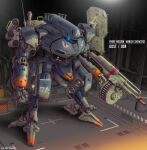 artist_name blue_eyes character_name front_mission glowing glowing_eye gun gust_(front_mission) hangar highres holding holding_gun holding_weapon jazz_kawa_sodom mecha no_humans radio_antenna science_fiction solo standing weapon