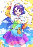 1girl :d arm_up blush breasts cape caramell0501 contrapposto dress feet_out_of_frame hairband highres index_finger_raised looking_at_viewer medium_breasts multicolored multicolored_clothes multicolored_dress open_mouth purple_hair rainbow_gradient short_hair simple_background smile solo tenkyuu_chimata touhou violet_eyes white_background white_cape