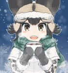 1girl :d african_wild_dog_(kemono_friends) african_wild_dog_print animal_ears bangs beanie black_hair black_mittens blonde_hair blush brown_eyes cup dog_ears ears_through_headwear eyebrows_visible_through_hair fangs fur-trimmed_headwear fur-trimmed_mittens green_scarf hat highres holding holding_cup kemono_friends looking_at_viewer mittens multicolored_hair open_mouth outline plaid plaid_scarf scarf short_sleeves smile snowflakes solo steam upper_body white_outline wonderful_waon