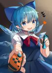 +++ 1girl :d absurdres ahoge blue_dress blue_eyes blue_hair blurry bow breasts cirno commentary_request couch cowboy_shot depth_of_field dress grey_background hair_bow heart highres holding hxj_(2324184595) ice ice_wings incoming_gift looking_at_viewer medium_breasts open_mouth pointy_ears simple_background smile solo touhou wings