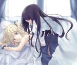 2girls blonde_hair blue_eyes blue_ribbon christina_dorn commentary_request derivative_work dress efa hair_ribbon highres katahane long_hair long_sleeves looking_at_another multiple_girls on_bed open_mouth ribbon tatata_(vaca1234) white_dress window yuri