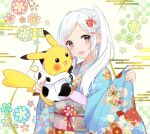 1girl animal_print blush clothed_pokemon commentary_request cow_print earrings fire_emblem fire_emblem_awakening floral_background gen_1_pokemon hair_ornament hand_up highres holding holding_pokemon hood hood_down hoodie japanese_clothes jewelry kimono long_hair looking_at_viewer obi open_mouth pikachu pink_eyes pokemon pokemon_(creature) puni_y_y robin_(fire_emblem) robin_(fire_emblem)_(female) sash silver_hair smile stud_earrings twintails