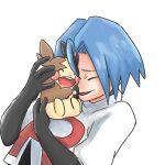1boy 50kuike50namake crying gen_8_pokemon happy hug james_(pokemon) morpeko pokemon pokemon_(anime) pokemon_(creature) team_rocket
