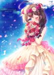 1girl ahoge blue_eyes blush bouquet braid brown_hair commentary_request commission dress elbow_gloves flower gloves hair_between_eyes hair_flaps highres holding holding_bouquet ittokyu kantai_collection long_hair one_eye_closed pink_flower pink_rose red_flower red_rose remodel_(kantai_collection) rose shigure_(kancolle) single_braid solo wedding_dress white_dress white_flower white_gloves white_rose