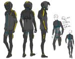 1boy character_sheet clenched_hand gundam gundam_hathaway's_flash hathaway_noa helmet leaning_forward looking_ahead looking_to_the_side male_focus multiple_views official_art open_hand pablo pilot_suit production_art science_fiction sketch unfinished