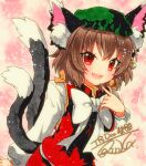 1girl animal_ear_fluff animal_ears brown_hair cat_ears cat_tail chen dress earrings gold_trim hat jewelry mob_cap multiple_tails nekomata qqqrinkappp red_dress red_eyes shikishi short_hair single_earring solo tail touhou traditional_media two_tails