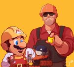 ?_block chain_chomp collared_shirt dispenser_(team_fortress) english_commentary facial_hair flapdoodlez giant goggles hardhat helmet mario mario_(series) mustache overalls red_shirt shirt simple_background size_difference smile super_mario_maker team_fortress_2 the_engineer the_scout yellow_background
