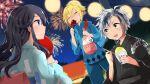 1girl 2boys :d aerial_fireworks ahoge bangs black_hair black_kimono blonde_hair blue_eyes blue_kimono blue_pants blush candy_apple closed_eyes closed_mouth crying crying_with_eyes_open eyebrows_visible_through_hair fang fingernails fireworks food hair_between_eyes highres holding holding_food hot_dog izumo_kasumi_(nijisanji) japanese_clothes jewelry kamiyoshi_rika kimono long_hair long_sleeves multicolored_hair multiple_boys night night_sky nijisanji nose_blush obi open_mouth outdoors pants profile ring sash shaved_ice silver_hair sky smile standing streaked_hair striped suzuki_masaru tears uzuki_kou vertical-striped_kimono vertical_stripes virtual_youtuber wide_sleeves