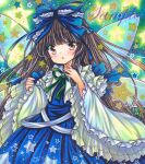 1girl bangs black_hair blue_bow blue_dress blush bow dress eyebrows_visible_through_hair fairy_wings green_background green_bow green_neckwear hands_up hime_cut long_hair long_sleeves looking_at_viewer marker_(medium) open_mouth rui_(sugar3) sky solo star_(sky) star_(symbol) star_sapphire starry_sky touhou traditional_media white_sleeves wings yellow_eyes