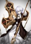 1girl absurdres bag_(chrko_bag) blue_eyes chain cross_(weapon) hair_between_eyes highres holding holding_weapon honkai_(series) honkai_impact_3rd looking_at_viewer nun open_mouth polearm side_ponytail simple_background solo spear theresa_apocalypse theresa_apocalypse_(valkyrie_pledge) weapon white_background white_hair