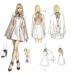 1girl bangs blonde_hair blue_eyes breasts capelet character_sheet clenched_hands crossed_legs dress earrings faceless faceless_female from_behind gigi_andalusia gundam gundam_hathaway's_flash hair_behind_ear high_heels jewelry long_hair looking_to_the_side multiple_views official_art pablo production_art small_breasts triangle_earrings white_background white_capelet white_dress