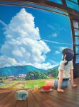 1girl absurdres arm_support black_hair blue_sky bridge bus_stop canal clouds commentary_request condensation_trail cumulonimbus_cloud day denim denim_shorts field forest glass highres house huge_filesize landscape mountain nature original plate ponytail power_lines rice_paddy road rural scenery shirt shop short_sleeves shorts sidelocks sitting sky tamikko tied_hair torii utility_pole veranda watermelon_slice white_shirt wooden_floor