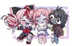 3girls @_@ ^_^ ajisai_eurydice animal bandaged_arm bandaged_leg bandages bangs black_bow black_dress blush bow brown_eyes brown_hoodie cat chibi closed_eyes colored_skin double_bun dress eyebrows_visible_through_hair fang fang_out fangs green_hair grey_hair grey_skin hair_bow hair_ornament hairclip hand_on_own_knee highres holding holding_animal holding_cat hololive hololive_indonesia hood hoodie indie_virtual_youtuber kureiji_ollie multicolored_hair multiple_girls open_hands patchwork_skin poking red_bow redhead second-party_source short_hair torn_clothes torn_dress trait_connection virtual_youtuber vyolfers zombie zonbko