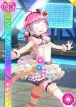 character_name covered_face dress love_live!_nijigasaki_high_school_idol_club love_live!_school_idol_festival pink_hair short_hair smile tennouji_rina