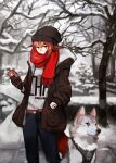 1girl absurdres arknights bare_tree beanie black_headwear blue_pants blurry brown_gloves brown_jacket cameo cellphone chinese_commentary crownslayer_(arknights) depth_of_field dog feet_out_of_frame gloves hand_in_pocket hat highres holding holding_phone jacket looking_at_viewer orange_eyes orange_hair outdoors pants phone red_scarf scar_on_arm scarf short_hair snow solo sticker tail talulah_(arknights) tree winter wolf_tail zxny