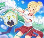 1girl :d ^^^ absurdres bangs blonde_hair blue_sky_aosan blush bracelet closed_eyes clothes_around_waist collarbone commentary_request day eyebrows_visible_through_hair gym_uniform hair_bun highres holding_hose hose idolmaster idolmaster_cinderella_girls idolmaster_cinderella_girls_starlight_stage jacket jacket_around_waist jewelry ohtsuki_yui open_mouth outdoors p-head_producer red_shorts see-through shiny shiny_hair shirt short_sleeves shorts sidelocks smile upper_teeth water wet wet_clothes white_shirt