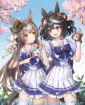2girls :d absurdres animal_ears bangs black_hair blue_bow blurry blurry_background blurry_foreground blush bow breasts brown_eyes brown_hair character_doll cherry_blossoms commentary_request cowboy_shot doll eyebrows_visible_through_hair frilled_skirt frills hair_ornament hand_on_another's_shoulder hands_up highres holding holding_doll horse_ears horse_girl horse_tail huge_filesize kasia0309 kitasan_black long_hair looking_at_another medium_breasts mejiro_mcqueen_(umamusume) multicolored_hair multiple_girls open_mouth pleated_skirt puffy_short_sleeves puffy_sleeves purple_shirt red_eyes satono_diamond school_uniform shirt short_sleeves skirt smile standing streaked_hair tail thigh-highs tokai_teio_(umamusume) tracen_school_uniform umamusume very_long_hair white_hair white_legwear white_skirt