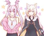 2girls animal_ears arknights bare_shoulders bat_wings blonde_hair blush cardigan cat_ears chinese_commentary coat commentary_request dog_tags fur-trimmed_coat fur_trim head_wings heterochromia long_hair long_sleeves manticore_(arknights) multiple_girls nightmare_(arknights) off_shoulder open_clothes open_coat open_mouth pointy_ears purple_hair some_doctor_(mou_boshi) tank_top twintails violet_eyes wings