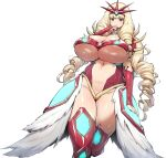 1girl bangs blonde_hair blue_eyes blunt_bangs breasts bridal_gauntlets character_request curvy drill_hair getter_robo getter_robo_(1st_series) huge_breasts long_hair navel robot_girls_z solo thick_thighs thighs thirty_8ght very_long_hair