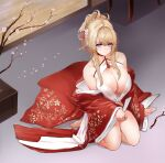 1girl absurdres azur_lane bare_shoulders blonde_hair braid breasts center_opening chinese_new_year choker cleavage_cutout clothing_cutout crown_braid dress floral_print flower from_above full_body glorious_(azur_lane) glorious_(pungent_plum)_(azur_lane) hair_ornament hair_stick highres hitsuji_(sheepsb22) indoors kanzashi large_breasts looking_at_viewer neckwear off-shoulder_kimono official_alternate_costume open_clothes open_dress petals pink_flower red_choker red_dress solo tied_hair violet_eyes wide_sleeves