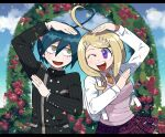 1boy 1girl :d ;d ahoge akamatsu_kaede arm_up bangs black_border black_jacket blonde_hair border breasts buttons collared_shirt commentary confetti cowboy_shot danganronpa_(series) danganronpa_v3:_killing_harmony double-breasted flower furukawa_(yomawari) hair_ornament heart_ahoge highres jacket large_breasts letterboxed long_hair long_sleeves looking_at_another looking_at_viewer musical_note musical_note_hair_ornament necktie one_eye_closed open_mouth outdoors pillarboxed pink_vest saihara_shuuichi school_uniform shirt skirt smile striped_jacket sweater_vest upper_teeth vest violet_eyes
