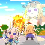 3girls akai_haato amane_kanata artist_name blonde_hair blue_eyes blue_hair blue_sky cellphone chibi clouds colored_inner_hair commentary_request dragon_girl dragon_horns explosion expressionless hair_ornament hair_ribbon highres holding holding_phone hololive horns kiryu_coco minecraft multicolored_hair multiple_girls open_mouth orange_hair phone pink_hair ribbon selfie silver_hair sky smartphone streaked_hair transparent tree v violet_eyes virtual_youtuber wakatsuki_misato yagoo
