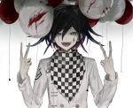 1boy :d balloon bangs black_hair blood buttons checkered checkered_neckwear checkered_scarf danganronpa_(series) danganronpa_v3:_killing_harmony double-breasted double_v gradient gradient_background grey_background grey_jacket iumi_urura jacket long_sleeves looking_at_viewer male_focus open_mouth ouma_kokichi purple_hair scarf smile solo tongue upper_teeth v violet_eyes