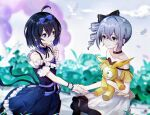 2girls 8181018 antenna_hair bangs bare_shoulders bronya_zaychik closed_eyes clouds cloudy_sky doll drill_hair grey_background grey_eyes hair_between_eyes hair_ribbon holding holding_hands holding_weapon homu_(honkai_impact) honkai_(series) honkai_impact_3rd looking_at_another multiple_girls open_mouth outdoors purple_hair ribbon seele_vollerei short_hair sky smile violet_eyes weapon yuri